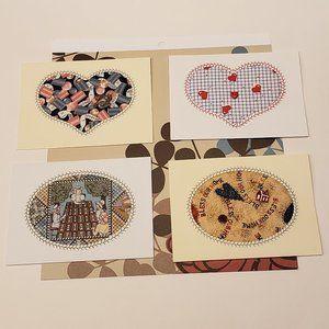 4 Fabric-Insert Greeting Cards